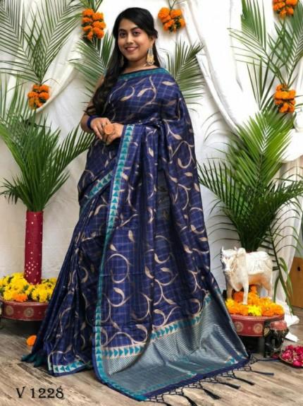 stunning Blue Soft Silk Party wear Saree