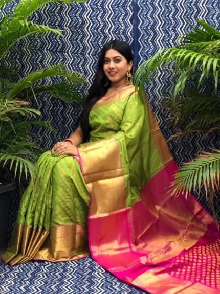 stunning Red Kanchipuram silk saree grabandpack