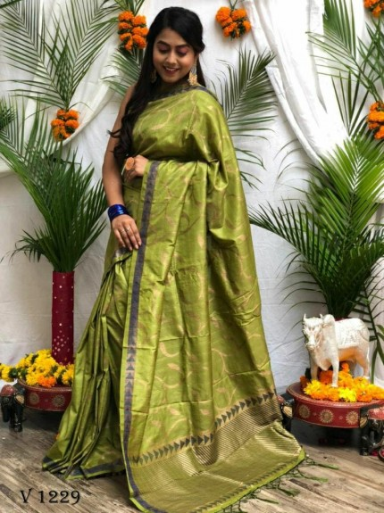 stunning Green Soft Silk Party wear Saree