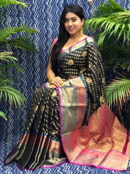 Stunning Look Kanchipuram Silk saree in black