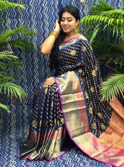 Stunning Look Kanchipuram Silk saree in blue