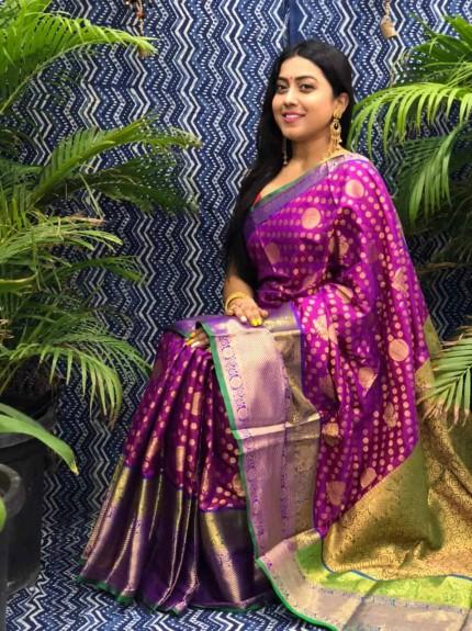 Stunning Look Kanchipuram Silk saree in pink