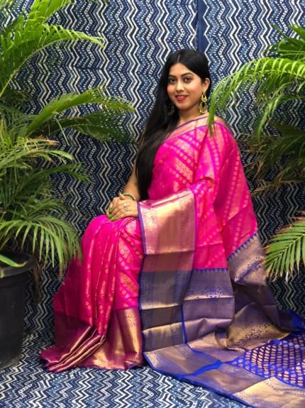 stunning Pink Kanchipuram silk saree grabandpack