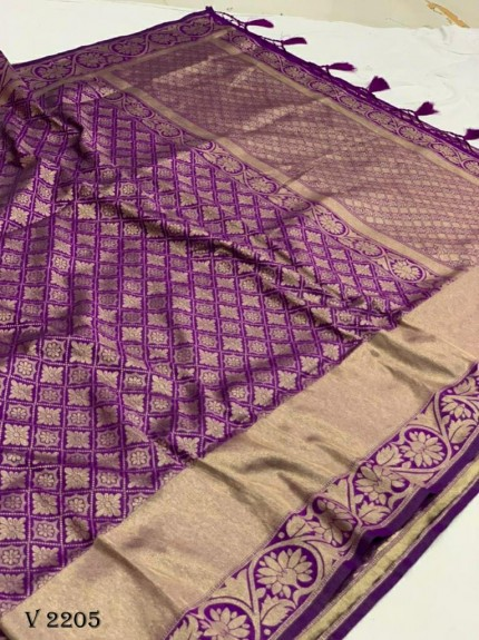 grabandpack Stunning Purple Dola silk saree