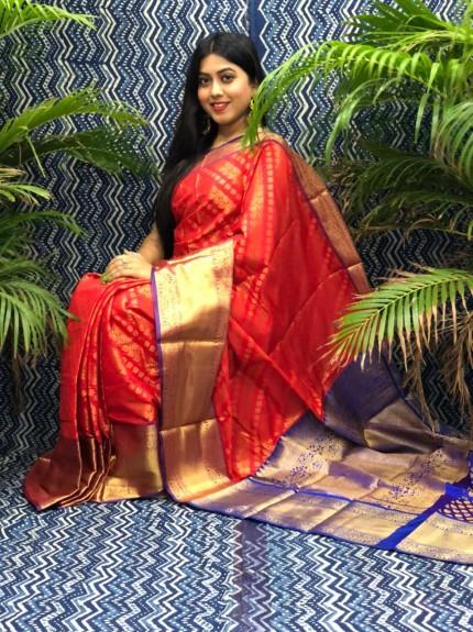 en's stunning Red Kanchipuram silk saree gnp0107467