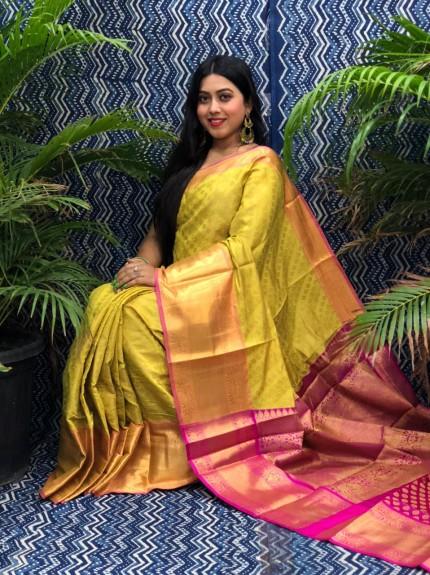 stunning Yellow Kanchipuram silk saree grabandpack