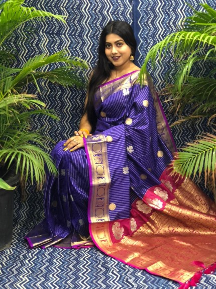 Traditional Kanchipuram silk saree in purple