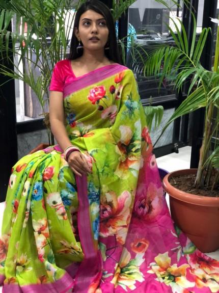 modern Linen saree design
