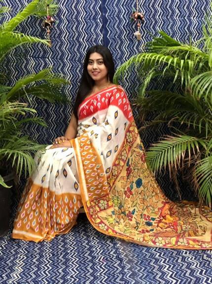 Trendy Kalamkari Linen saree grabandpack