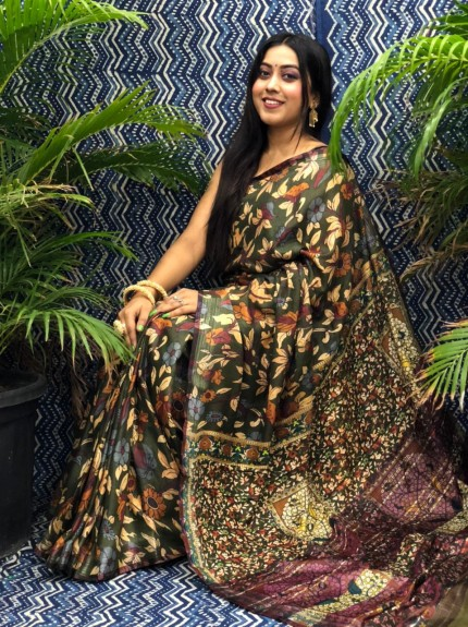 grabandpack Trendy Kalamkari Linen saree