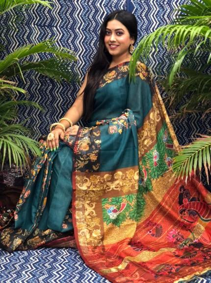 grabandpack printed linen sarees online