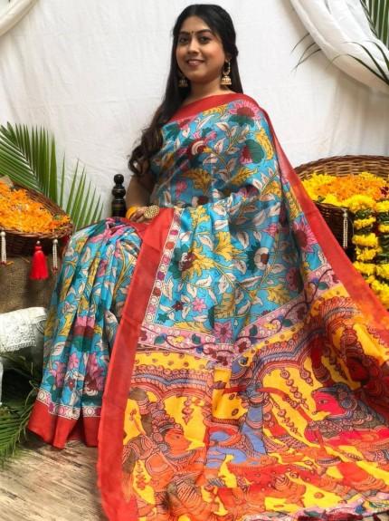 Ultra Modern Blue Soft Linen Printed saree