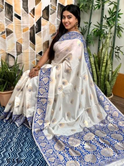 White Banarasi Silk Saree with Blue Border