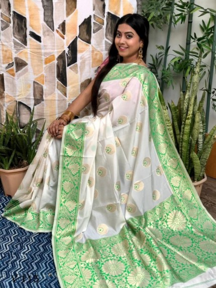 White Banarasi Silk Saree with Green Border