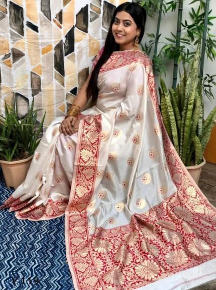White Banarasi Silk Saree with Maroon Border