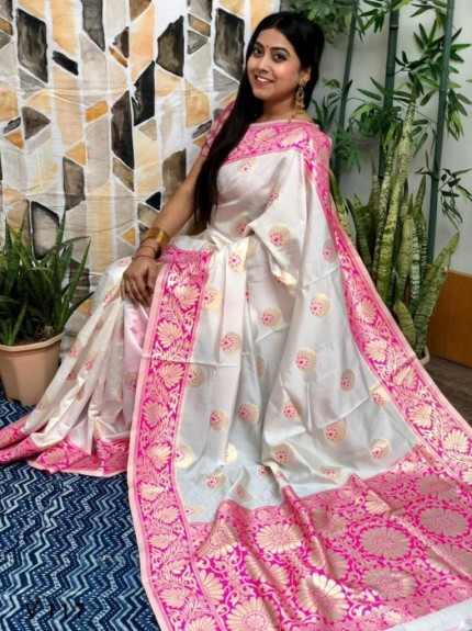 White Banarasi Silk Saree with Pink Border