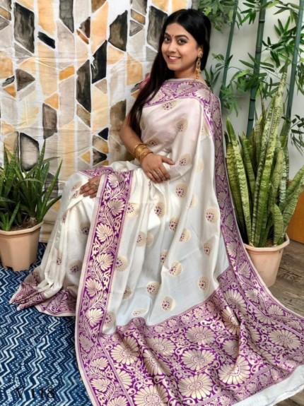 White Banarasi Silk Saree with Purple Border