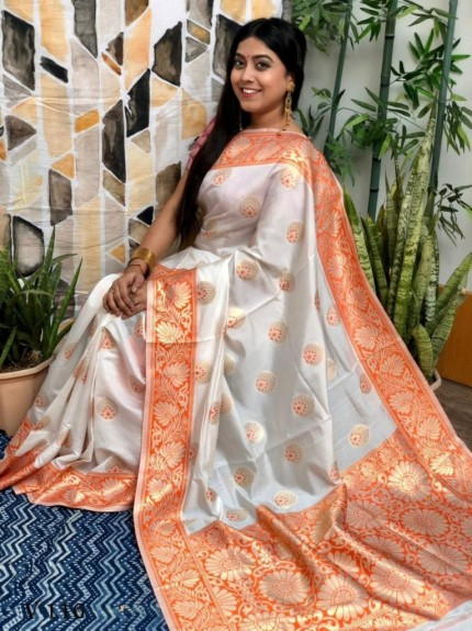 White Banarasi Silk Saree with Red Border