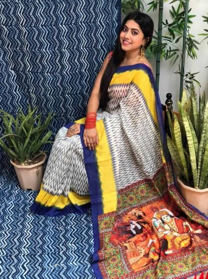 women's white Linen Ikkat Printed Designer Saree