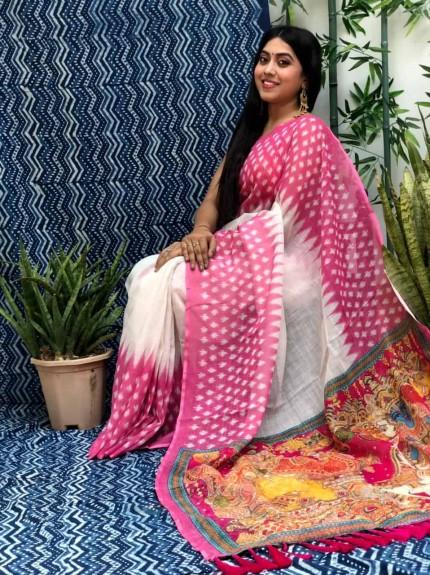women's Linen Ikkat Printed Designer Saree