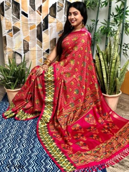Women's Printed manipuri silk ikkat Printed saree