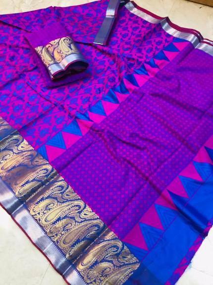 women's Beautiful Purple and Blue Soft Kora Muslin Silk Saree