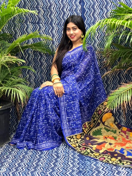 Women's linen party wear Printed saree