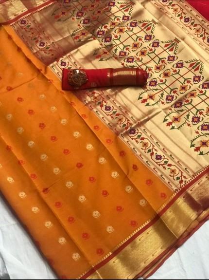 Women's Orange Soft Silk Saree with Blouse Piece GrabandPack