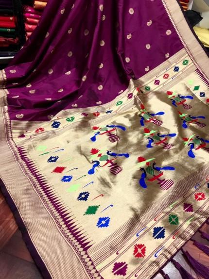 Purple coloured Pure silk saree for wedding function