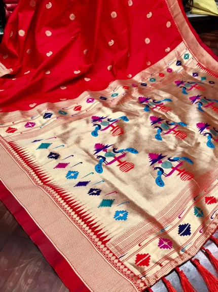 Red coloured soft silk saree