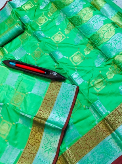 Taditional Green Lichi silk saree grabandpack
