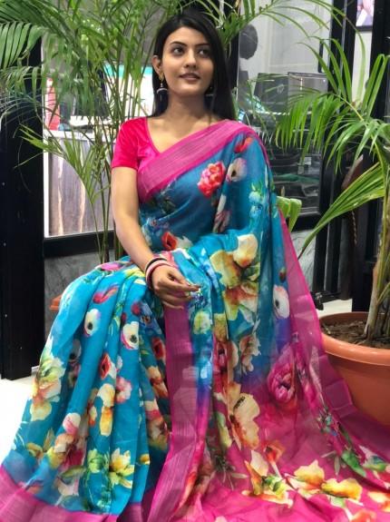 Top trending Floral Printed Linen saree