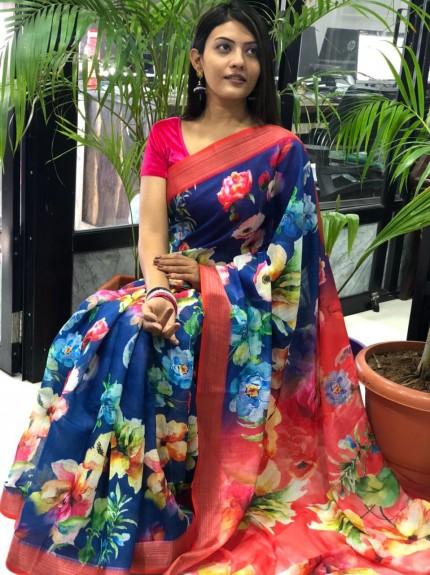 Blue Party wear saree