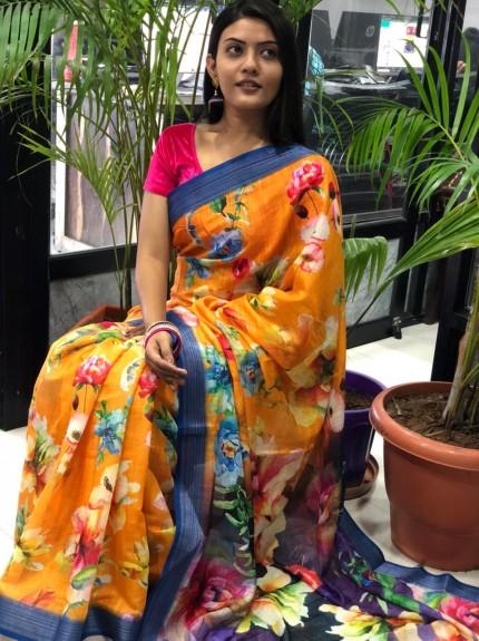 Orange Party wear saree