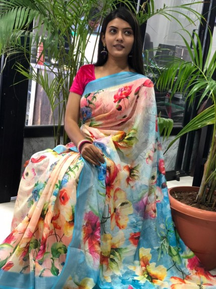 Latest collection of Linen sarees
