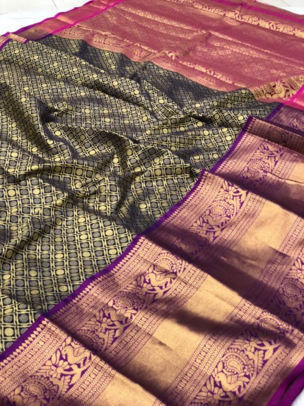 Black Traditional silk saree