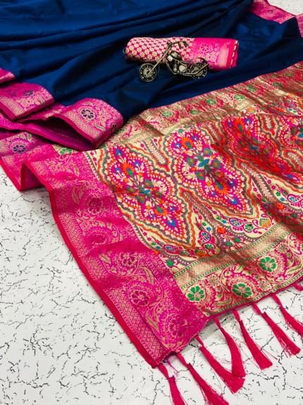 women's Trendy Designer Blue Banarasi Silk saree
