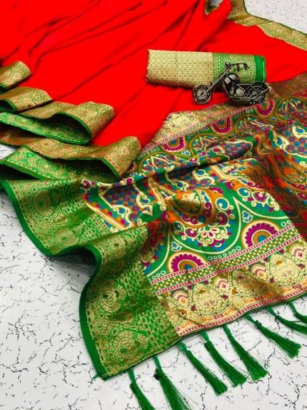 women's Trendy Designer Red Banarasi Silk saree