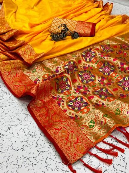 Grabandpack women's Trendy Designer Yellow Banarasi Silk saree