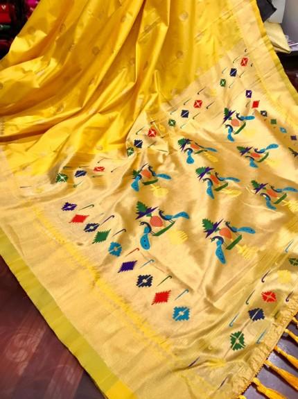 Yellow coloured soft silk saree