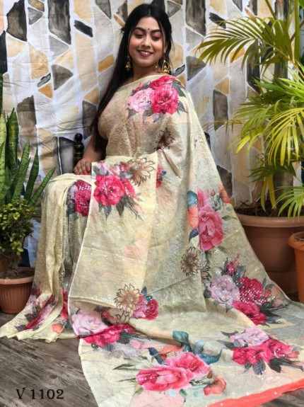 Yellow Flower Printed Pure Tebi Silk saree