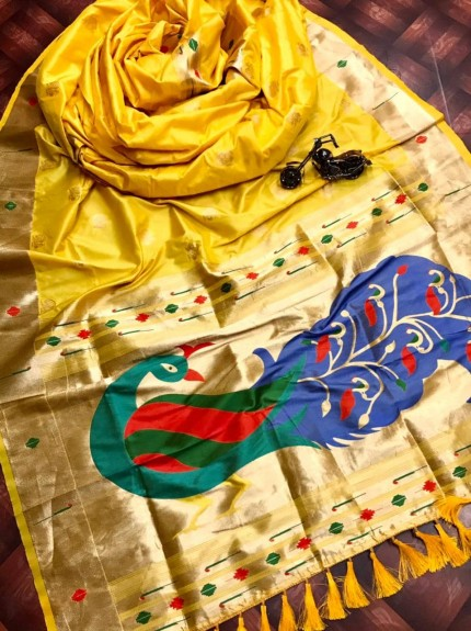 Yellow silk saree for party