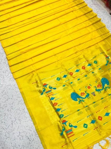Grabandpack Yellow Paithani Silk Saree