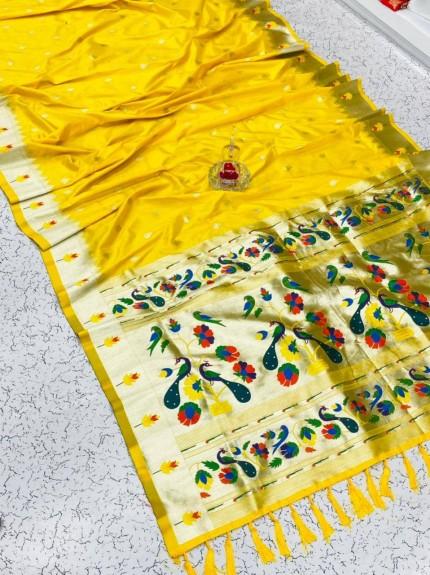 yellow Pethani Silk Blend Festive Wear Saree