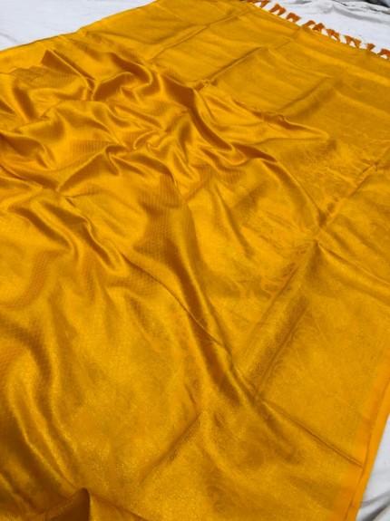 Yellow Pure Banarasi Silk with Pure Gold Kasab Zari Yarn - gnp010051
