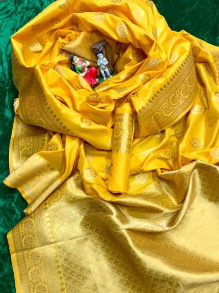Yellow color Soft silk saree