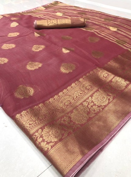 grabandpack Maroon coloured soft Linen saree