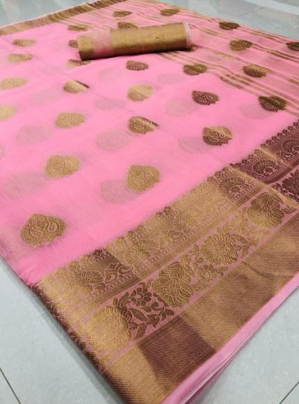 Soft Linen Weaving Saree in Pink | grabandpack