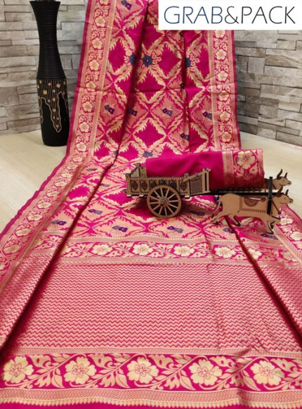 woven silk sarees online in Pink