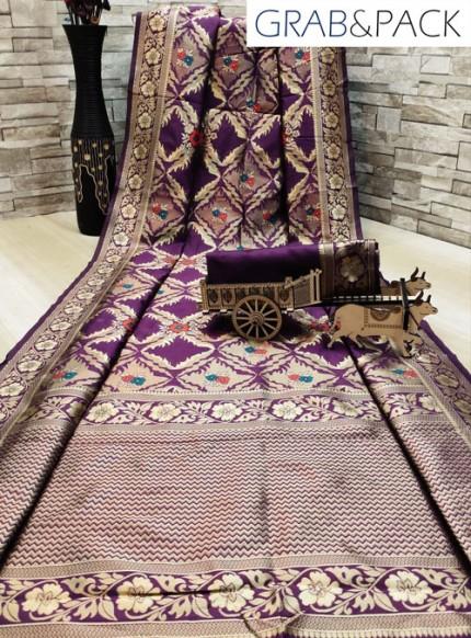 woven silk sarees online in Purple